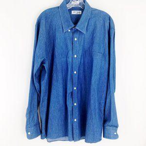 Pera INDIGO Button d Denim Cotton Dress Shirt 17.5